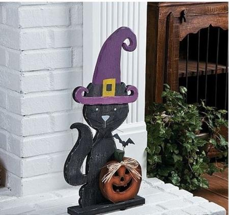 Black witch cat indoor outdoor halloween holiday decor ebay for Cat outdoor christmas decorations