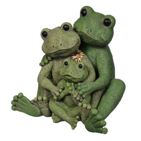 Outdoor Garden Decor Statues Photograph Loving Frog Family