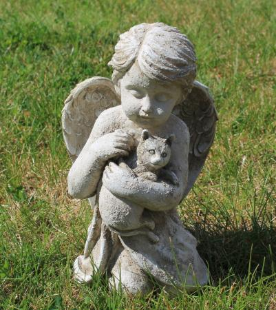 Angel Cherub W Cat Kitten Pet Memorial Garden Statue Ebay