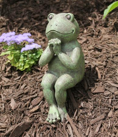 Whimsical praying frog zen garden statue ebay for Whimsical garden statues