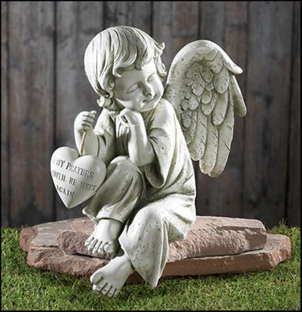 Memorial Angel Headstone Grave Sitter Sympathy Shelf Decor