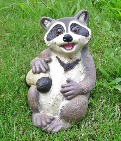 Outdoor Garden Decor Statues Photograph Sitting Raccoon An