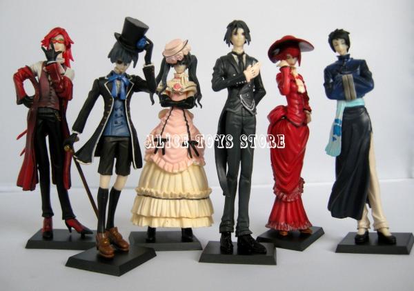 Black Butler Kuroshitsuji Ciel Japan Anime Figures Figurines 6 Pcs