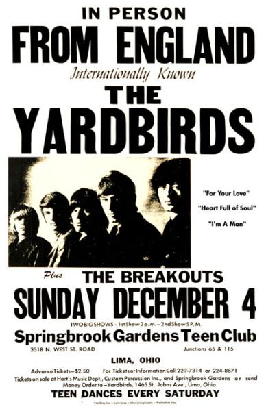 1960s Yardbirds Concert Poster Jimmy Page And Jeff Beck
