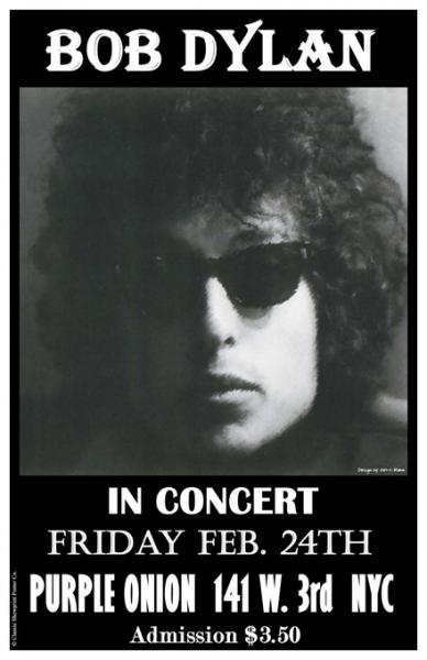 1960s Bob Dylan Purple Onion Nyc Concert Poster Ebay