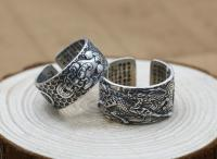 999 Sterling Silver Open Ring Men Thai Silver Koi Heart Sutra Jewelry Gift 1.2cm