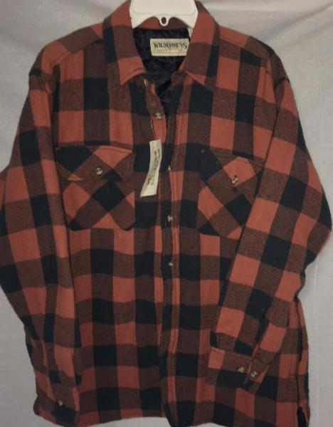 Wilderness plaid flannel quilted lined shirt jacket mens for Men flannel shirt jacket with quilted lining