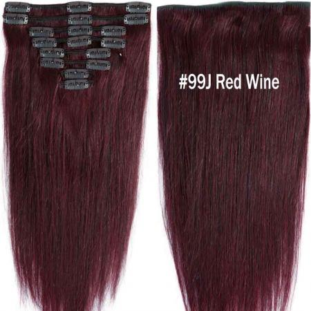 thick real human hair extensions clip in double weft set 8