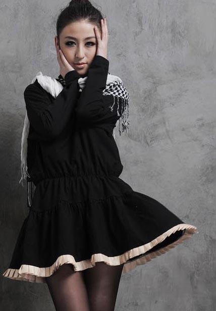 New Fashion Womens Loose Black Long sleeve Flouncing Ladies Mini Dress