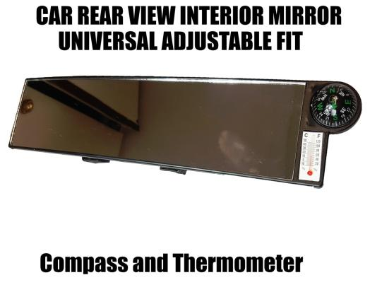 30cm wide car rear view mirror interior large clip on compass thermometer ac64 ebay. Black Bedroom Furniture Sets. Home Design Ideas