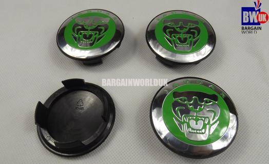4 Green Jaguar Wheelcaps Centre Chrome Center Caps Tyre Covers Wheel Badges 60mm