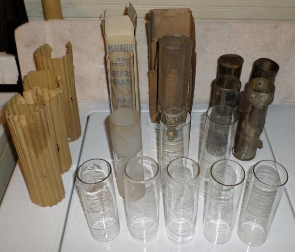 Fluorescent Light Gas: Lot 14 Cylinder Mantle Incandescent Gas Lamp Light Chimney