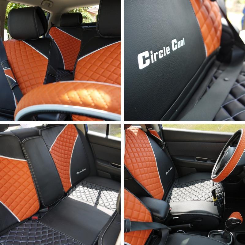 Circle Cool 33041 Seat Cover Set Black Orange Leather