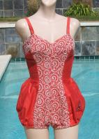 Vintage 50s Jantzen Coral Embroidered Bubble Swimsuit Bathing Suit