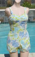 Vintage 60s Kahala Hawaiian Cotton Swimsuit Playsuit