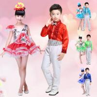 Girls Sequined Party show Dance Dress Kids Children Red Dancewear costume