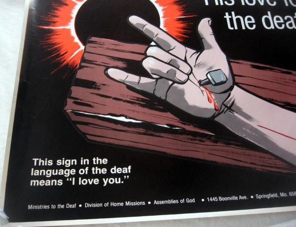 Poster deaf jesus died cross i love you ily asl sign language speaks