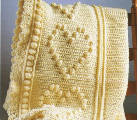 Free Crochet Popcorn Baby Blanket Pattern : CROCHET PATTERN FOR POPCORN STITCH WITH HEARTS AFGHAN eBay
