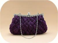 Brand New Glam Rhinestone Wedding Prom Clutch Evening Bag Purple