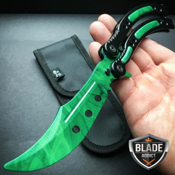 Details About Csgo Gamma Doppler Practice Knife Balisong Butterfly Tactical Combat Trainer