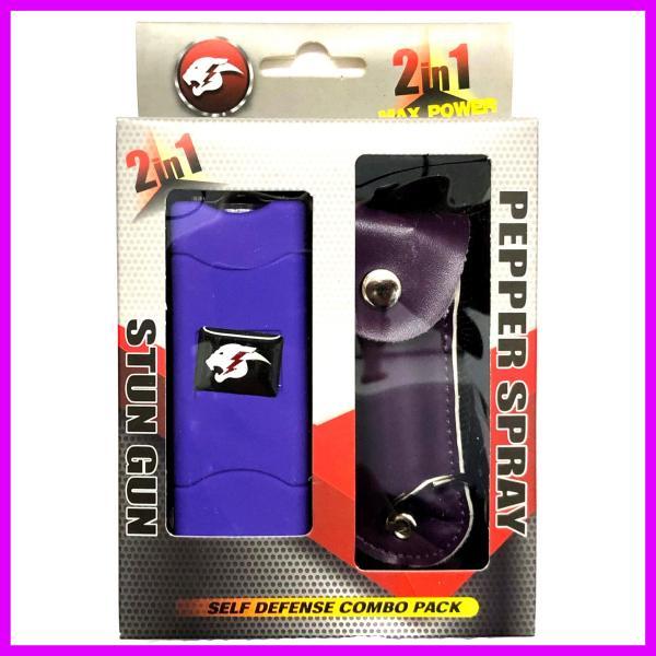 Self Defense Stun Gun Rechargeable Flashlight Pepper Spray Combo
