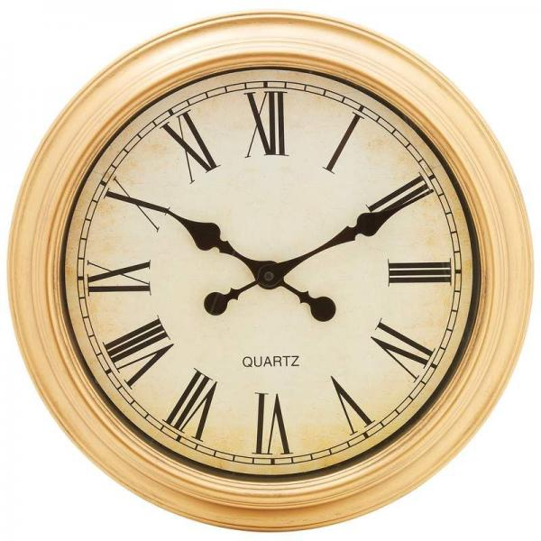 brookwood 16in round wall clock roman numerals antique