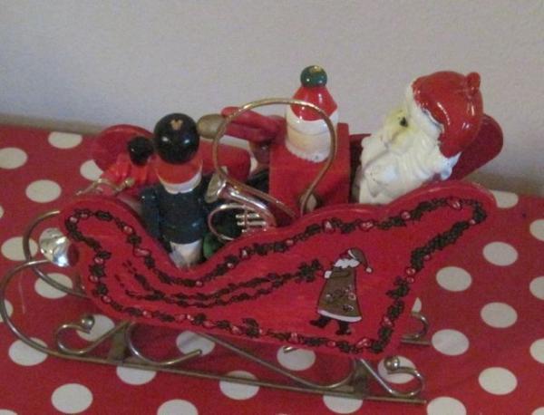 Vintage Hp Red Wood Sled Sleigh W Santa Amp Toys Train Jack