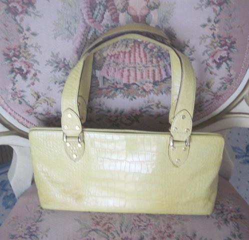 KATE SPADE Leather/CROCODILE Shoulder Bag & WALLET~PALE YELLOW Purse