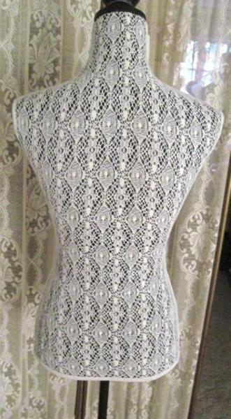 Decorative White Lace Over Black Mannequin Dress Form W