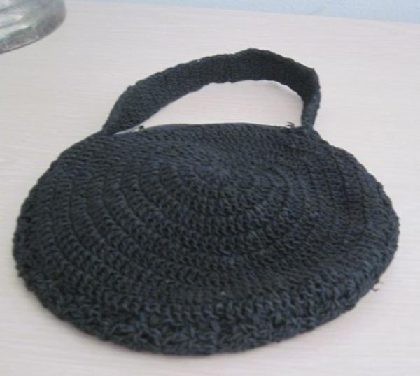 Crochet Round Purse : ... about Vintage Small Round BLACK CROCHET Purse w Lace & Burgundy ROSE