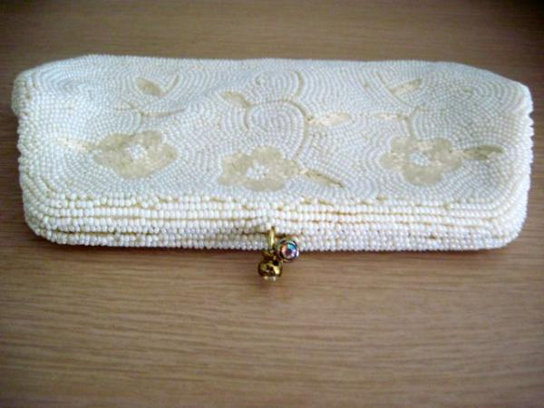 Vintage Richere Bag By Walborg Glass White Beaded W Floral