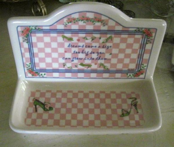 Vintage pink gingham roses porcelain bath dresser vanity for White ceramic bathroom tray