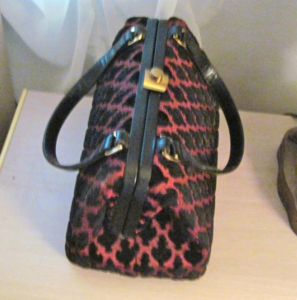 Morris Moskowitz Deep Red Amp Black Flocked Doctor Bag Purse