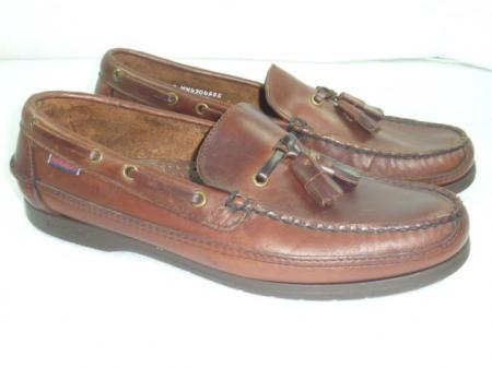 mens sebago docksides 9 ww brown tassel boat shoes loafers