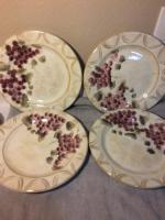 CHURCHILL PINK PEONY---SET OF 3 DINNER PLATES---ENGLAND---FREE SHIP--VGC 3