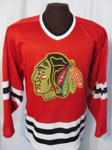 Vintage chicago blackhawks red ccm hockey jersey 80s retro for Retro nhl t shirts