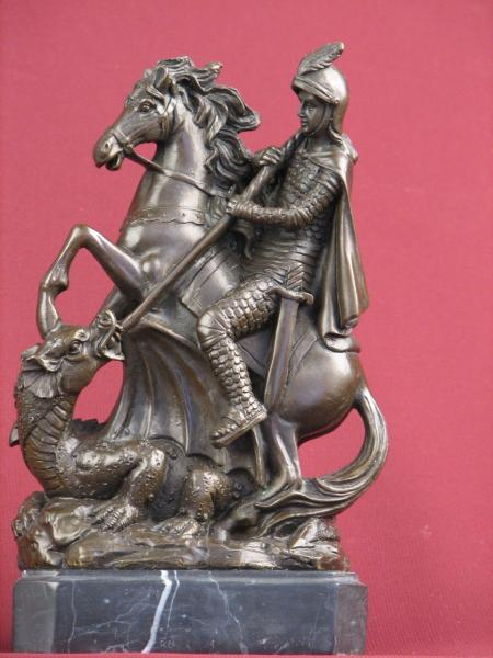 Details about BRONZE HANDCRAFTED STATUE WARRIOR HORSE MYTHOLOGY DETAILED  SCULPTURE ON MARBLE