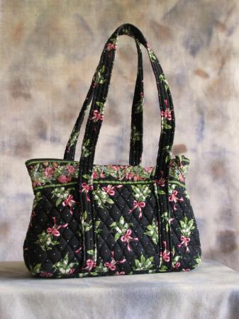 Vera Bradley Medium Size Shopper Tote Shoulder Bag Black