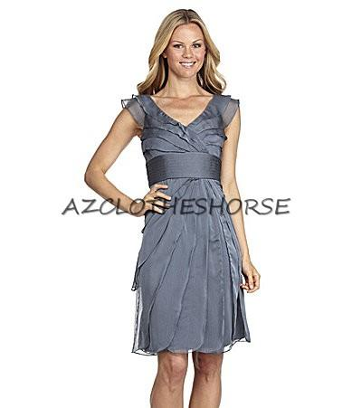 Adrianna Papell Stream Tiered Chiffon Pleated Cocktail Dress 14