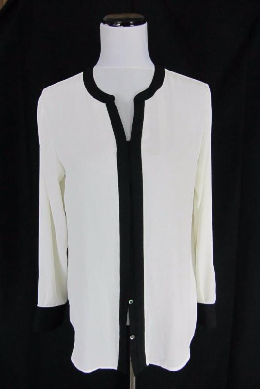 ba547dbbac6663 Chico's Blouse size 1 8 10 Ivory Sheer Button Front Career Church | eBay