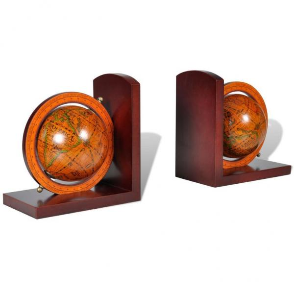 Pair of bookstand world map globe bookend bookcase desk home office click here to enlarge gumiabroncs Gallery