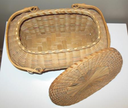 details about vintage native american indian woven picnic basket w lid