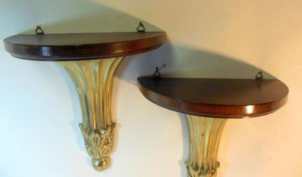 Pair Vtg Wall Shelves Brackets Sconces Brass & Wood