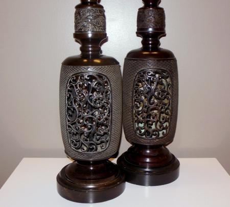 Pair Monumental Frederick Cooper Asian Chinese Dark Metal