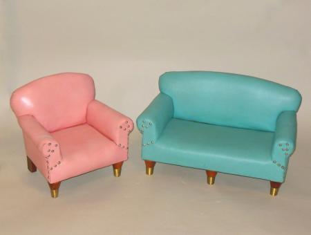 Rare mid century salesman sample mini turquoise sofa for Pink sofa login