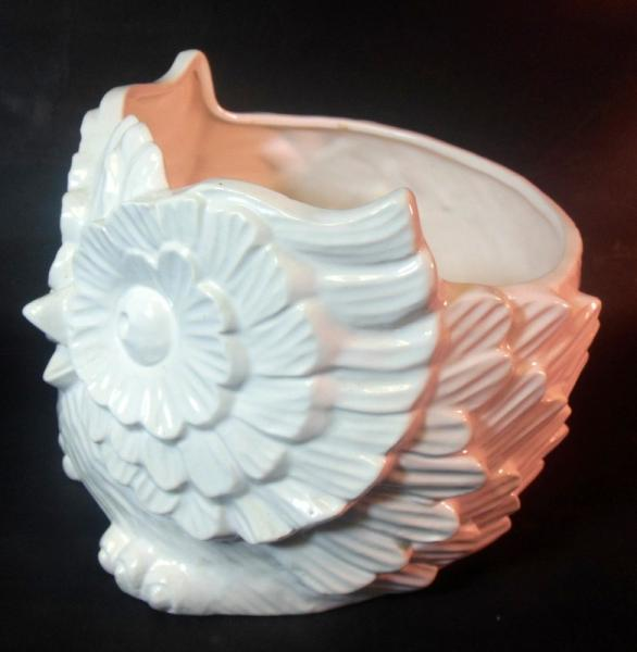 Vtg White Ceramic Pottery Owl Planter Vase Jardiniere Bowl