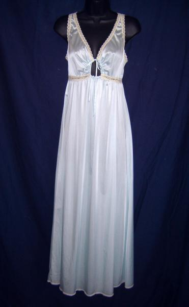 Vintage Miss Elaine Light Blue Nylon Long Nightgown ~ Ecru Lace Small 2805967cf