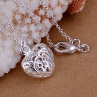 Hot 925Sterling Solid Silver Jewelry Flower Heart Chain Pendant Necklace P111