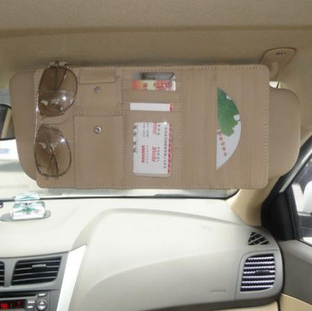 beige new car interior sun visor multifunction leather dvd case cd folder pocket ebay. Black Bedroom Furniture Sets. Home Design Ideas