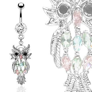 MULTI COLOR GEM OWL BELLY RING NAVEL DANGLE FANCY BUTTON PIERCING